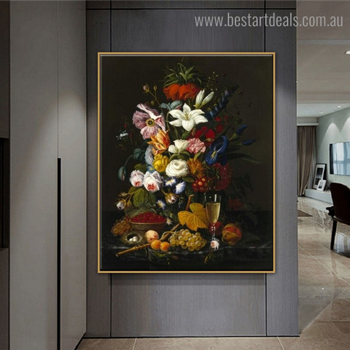 Fruit Wine Floral Still Life Framed Painting Image Canvas Print for Room Wall Assortment