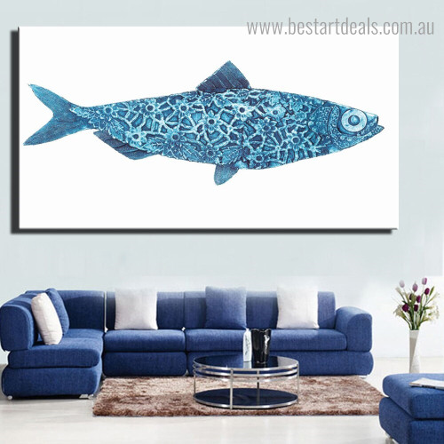 Blue Fish Modern Framed Artwork Photo Canvas Print for Room Wall Drape