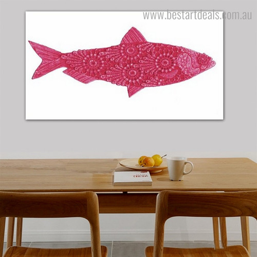 Red Fish Animal Modern Framed Artwork Picture Canvas Print for Room Wall Decoration