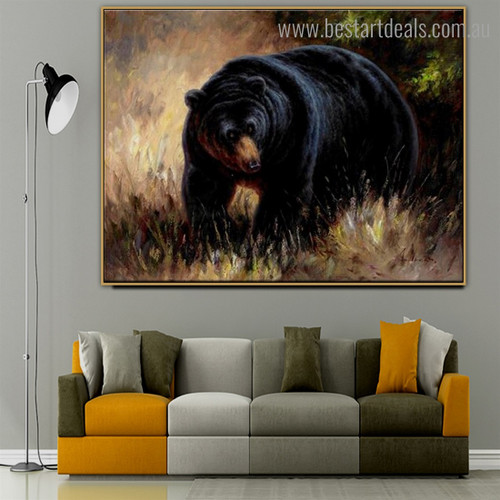 Wild Black Bruin Animal Nature Framed Painting Image Canvas Print for Room Wall Outfit