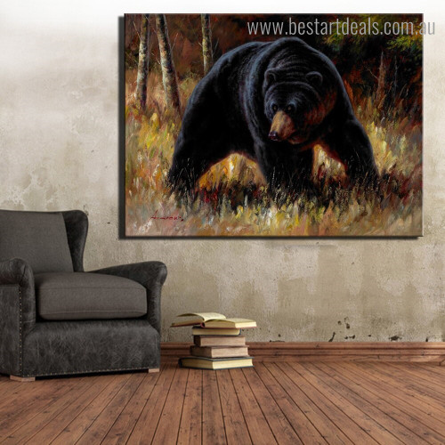 Big Black Bear Animal Landscape Framed Painting Photo Canvas Print for Room Wall Assortment