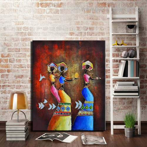 African Dancing Girl Abstract Figure Framed Artwork Portrait Canvas Print for Room Wall Assortment