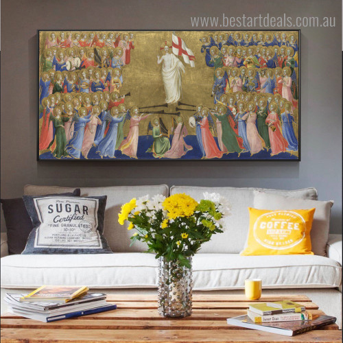 Court of Heaven Reproduction Framed Effigy Image Canvas Print for Room Wall Decoration