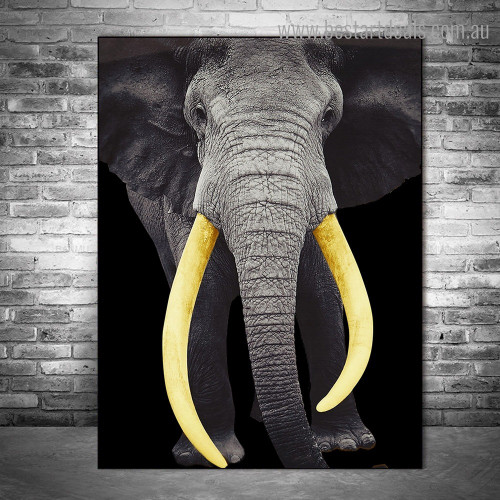 Bushy Elephant Animal Modern Framed Painting Image Canvas Print for Room Wall Flourish