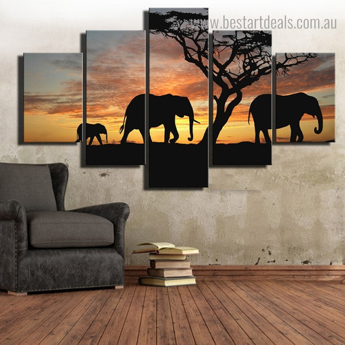 Jumbo Family Animal Modern Framed Painting Photo Canvas Print for Room Wall Decoration