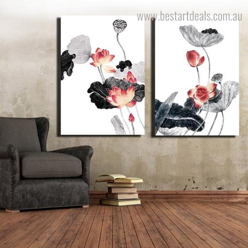 Lotus Flower Botanical Framed Portraiture Photo Canvas Print for Room Wall Decor