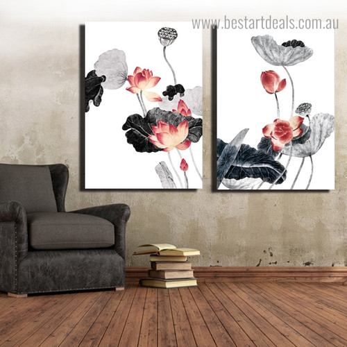 Lotus Flower Botanical Framed Portraiture Photo Canvas Print for Room Wall Decor