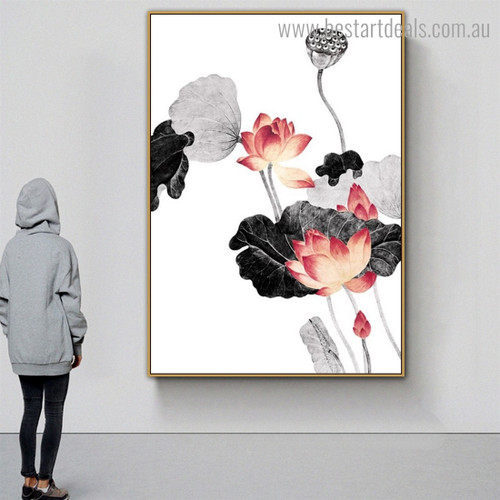 Lotus with Leaves Botanical Framed Portraiture Picture Canvas Print for Room Wall Flourish