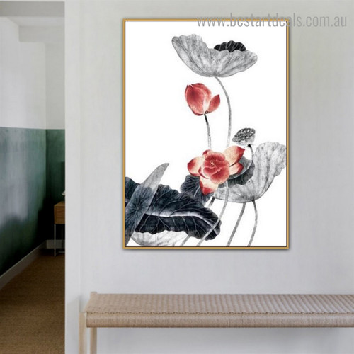 Lotus with Leafage Botanical Framed Portraiture Image Canvas Print for Room Wall Decor