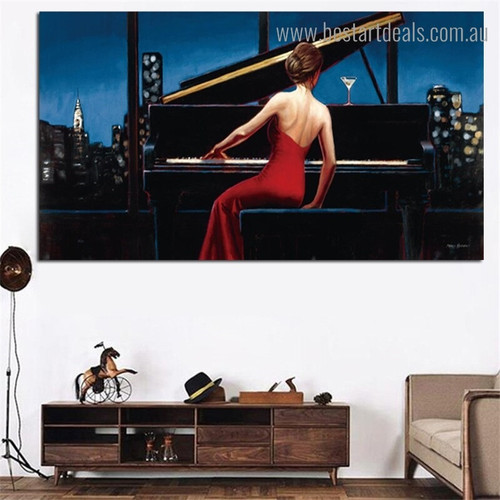 Girl Playing Piano Music Figure Framed Portraiture Photo Canvas Print for Room Wall Decoration