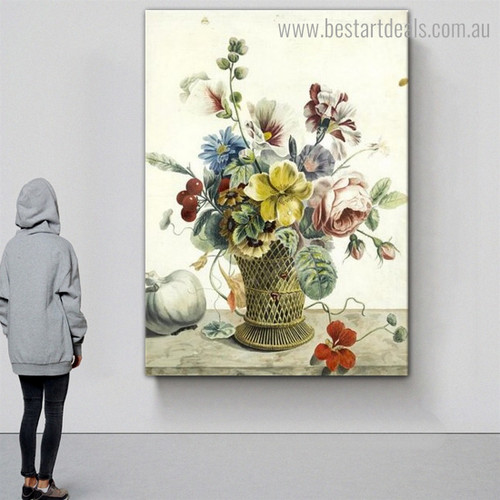 Roses Convolvulus Reproduction Framed Painting Photo Canvas Print for Room Wall Decoration