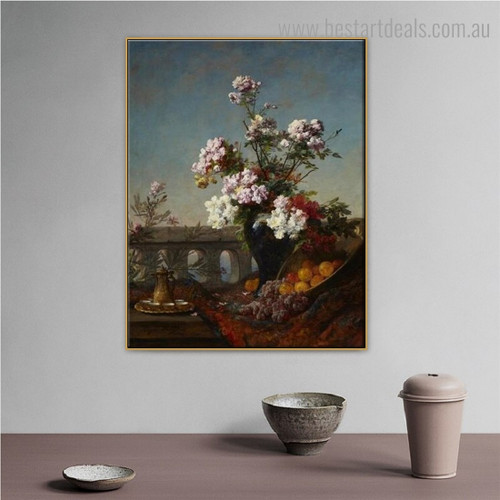 Flowers in Urn Reproduction Framed Painting Photo Canvas Print for Room Wall Outfit