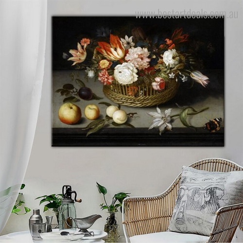 Basket of Flowers Reproduction Framed Painting Picture Canvas Print for Room Wall Finery