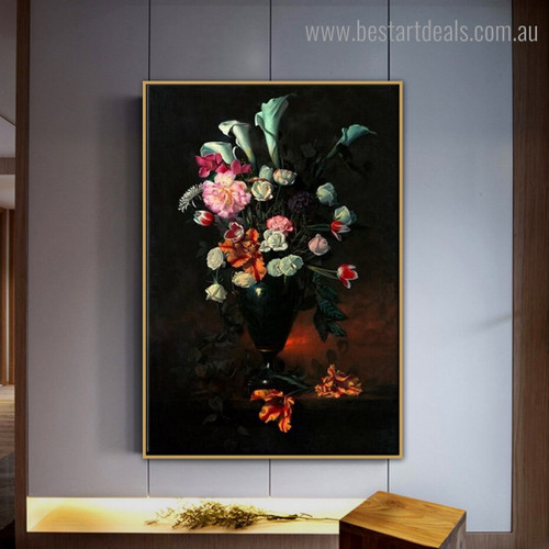 Spring Flowers Floral Still Life Framed Painting Photo Canvas Print for Room Wall Decor