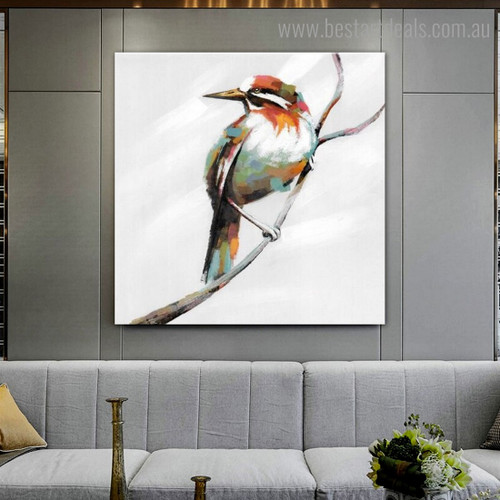 Chromatic Magpie Abstract Bird Modern Framed Painting Image Canvas Print for Room Wall Adornment