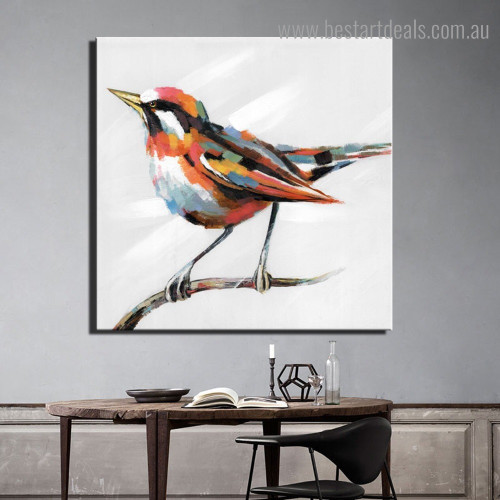 Magpie Abstract Bird Modern Framed Painting Image Canvas Print for Room Wall Ornamentation