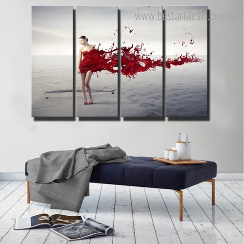 Red Splash Girl Figure Framed Smudge Image Canvas Print for Room Wall Adornment