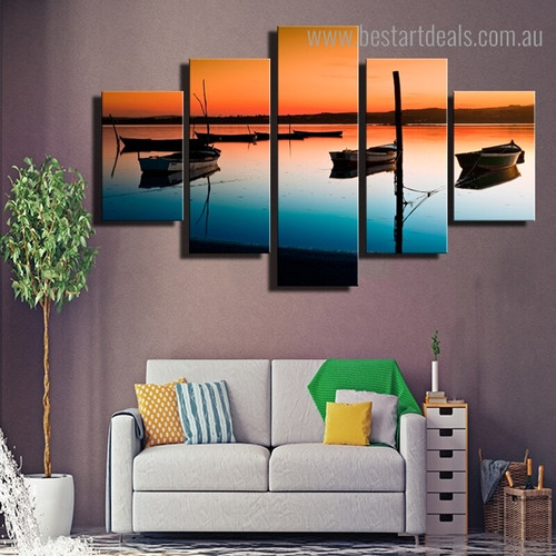 River Boats Landscape Nature Framed Effigy Photo Canvas Print for Room Wall Decor