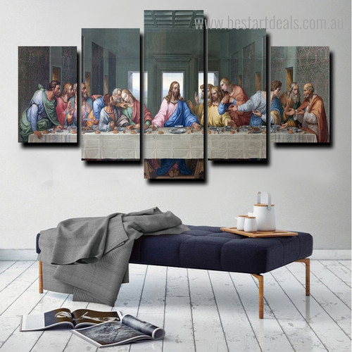 Last Supper Religious Framed Effigy Picture Canvas Print for Room Wall Garnish