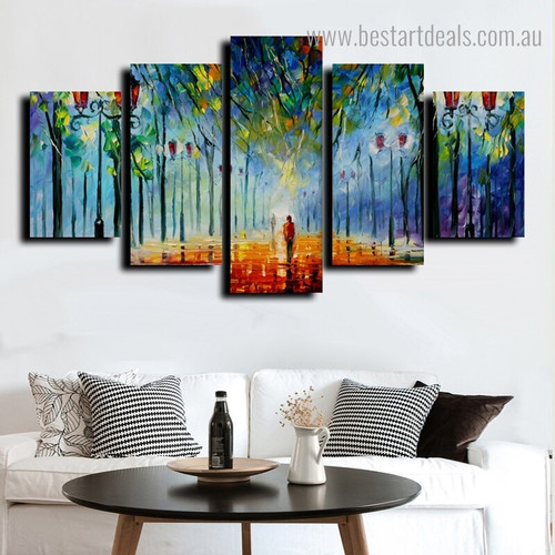 Man Walking Landscape Knife Framed Painting Photo Canvas Print for Room Wall Decoration
