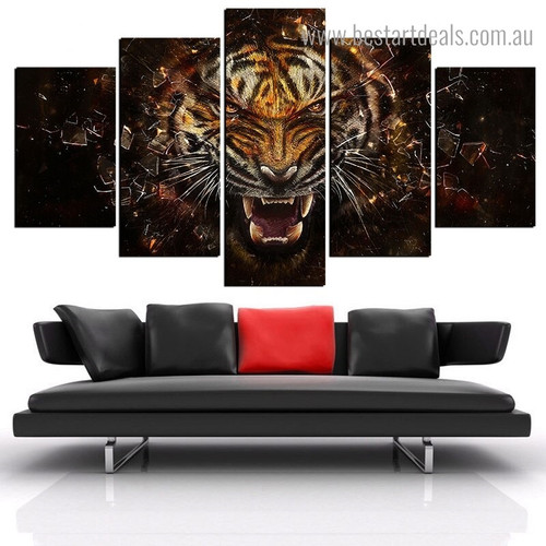 Dangerous Tiger Animal Framed Portmanteau Image Canvas Print for Room Wall Equipment