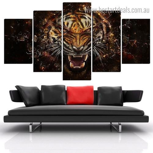 Dangerous Tiger Animal Framed Portmanteau Image Canvas Print for Room Wall Equipment