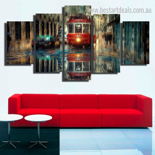 Red Retro Tram City Vintage Framed Painting Picture Canvas Print for Room Wall Tracery
