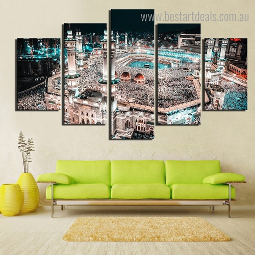 Mecca Skyscape Religious Modern Framed Painting Picture Canvas Print for Room Wall Disposition
