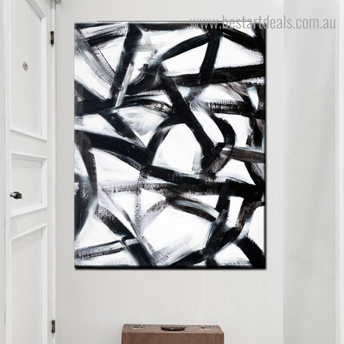Black Bold Lines Abstract Modern Framed Painting Picture Canvas Print for Room Wall Decoration