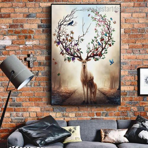 Fantasy Deer Animal Bird Botanical Nordic Framed Artwork Photo Canvas Print for Room Wall Drape