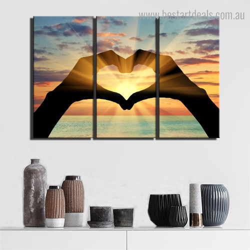 Sunrise Glow Landscape Nature Framed Picture Canvas Print for Room Wall Garniture