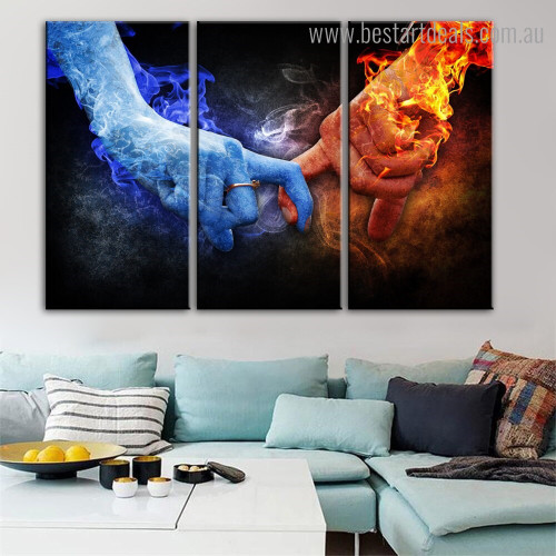 Blaze and Ice Abstract Figure Framed Painting Picture Canvas Print for Room Wall Decoration