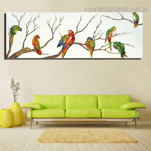 Multicoloured Parrots Bird Nordic Framed Painting Picture Canvas Print for Room Wall Drape