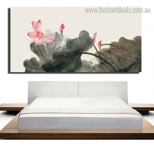 Pink Chinese Lotus Floral Framed Smudge Image Canvas Print for Room Wall Assortment