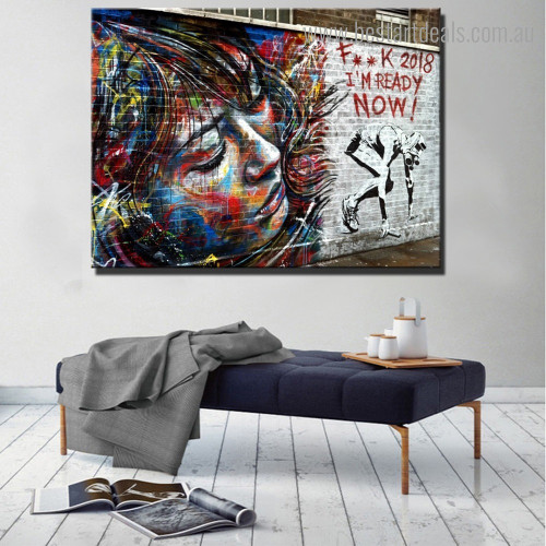 Modern Girl Abstract Graffiti Framed Portraiture Picture Canvas Print for Room Wall Molding