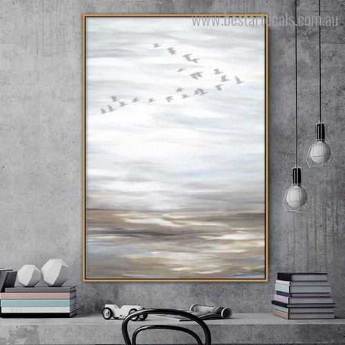 Birdie Over Ocean Abstract Framed Painting Picture Canvas Print for Room Wall Garnish