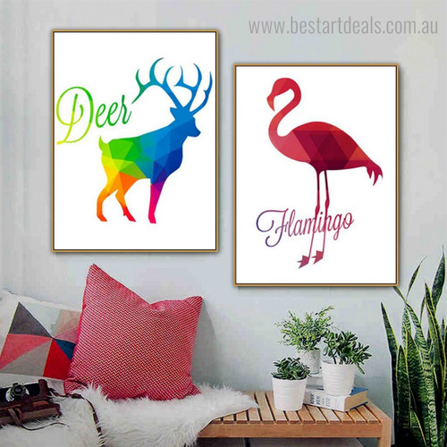 Deer Flamingo Abstract Bird Nordic Framed Smudge Image Canvas Print for Room Wall Adornment