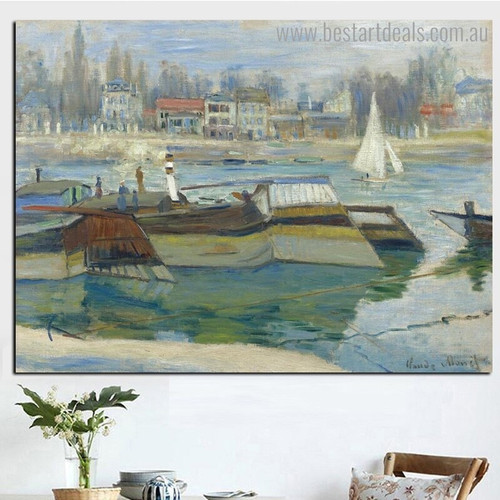 Seine at Asnières Monet Reproduction Framed Painting Picture Canvas Print for Room Wall Getup