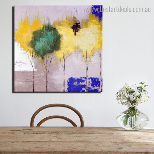 Calico Floret Abstract Floral Modern Framed Artwork Image Canvas Print for Room Wall Disposition