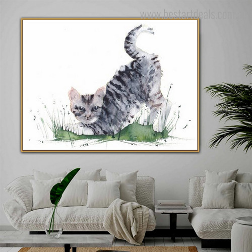Egyptian Mau Cat Animal Framed Effigy Picture Canvas Print for Room Wall Tracery