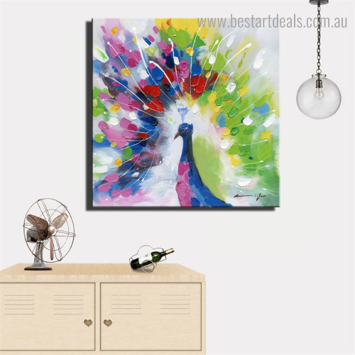 Particolored Peafowl Abstract Bird Framed Effigy Pic Canvas Print for Room Wall Garnish