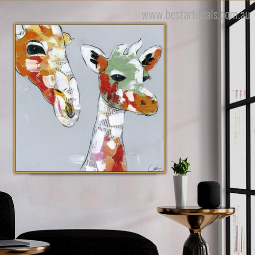 Two Giraffes Abstract Animal Framed Smudge Picture Canvas Print for Room Wall Decoration