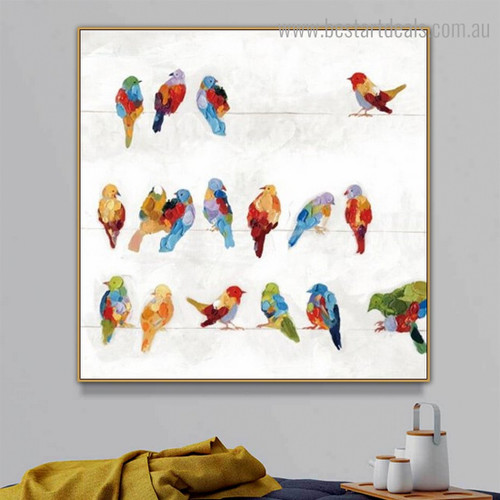 Multicoloured Birdie Abstract Bird Framed Smudge Photo Canvas Print for Room Wall Adornment