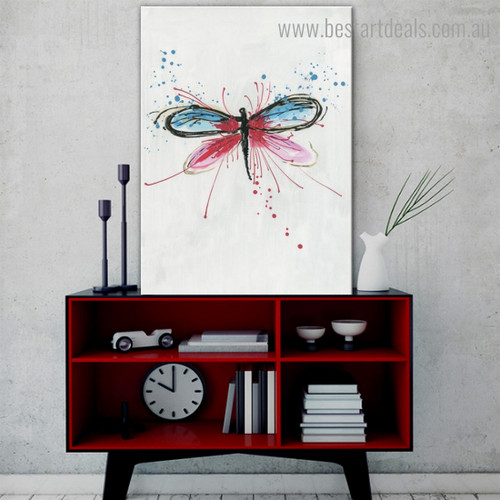 Colourful Dragonfly Abstract Animal Modern Framed Smudge Photo Canvas Print for Room Wall Drape