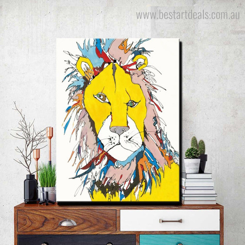 Varicolored Lion Abstract Animal Modern Framed Smudge Image Canvas Print for Room Wall Drape