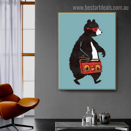 Bear with Goggles Abstract Animal Framed Painting Photo Canvas Print for Room Wall Drape