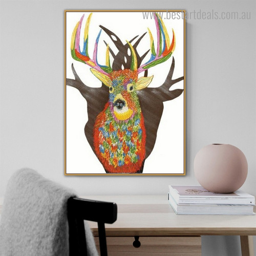 Calico Reindeer Abstract Animal Framed Effigy Pic Canvas Print for Room Wall Finery