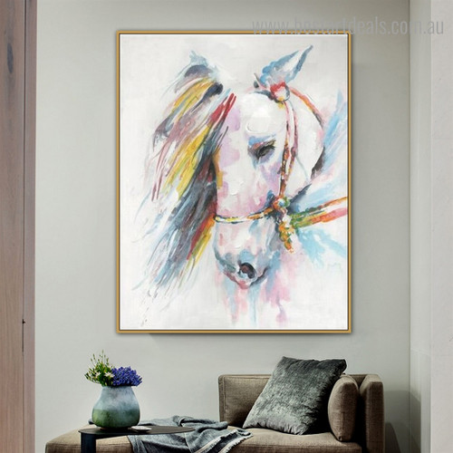 Motley Horse Face Abstract Animal Framed Smudge Image Canvas Print for Room Wall Adornment