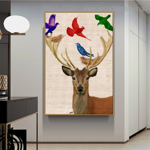 Birds with Deer Abstract Animal Framed Smudge Portrait Canvas Print for Room Wall Getup