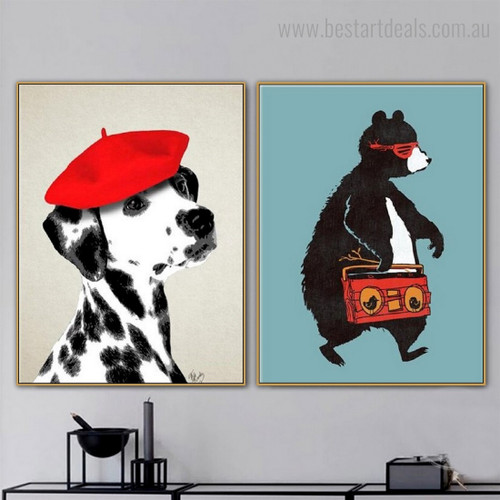 Cool Bear Dog Abstract Animal Framed Painting Pic Canvas Print for Room Wall Assortment